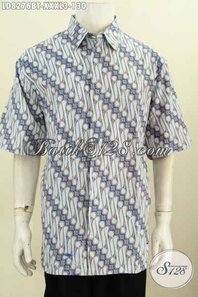 Hem Batik Elegan Super Jumbo, Baju Batik Halus Kombinasi Tulis Ukuran 4L Buatan Solo Asli Hanya 130 Spesial Buat Pria Gemuk Sekali [LD8276BT-XXXL]