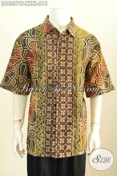 Hem Lengan Pendek Big Size 4L, Baju Batik Solo Elegan Proses Cap Tulis, Cocok Untuk Seragam Kerja Pria Gemuk Sekali, Size XXXL
