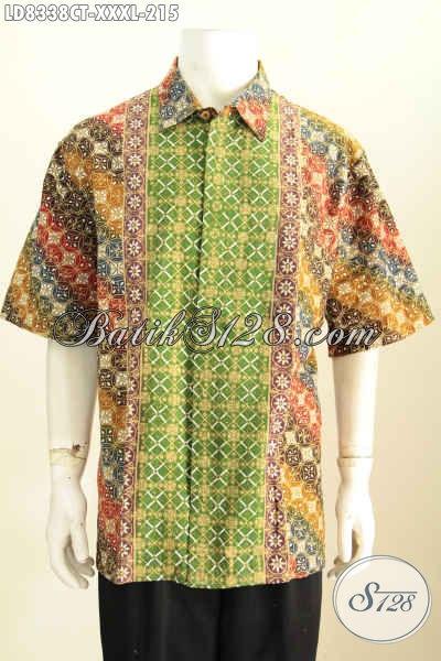 Batik Hem Lengan Pendek Size XXXL, Baju Batik Cap Tulis Motif Kombinasi Untuk Penampilan Lebih Gagah