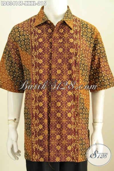 Batik Hem Solo Halus, Kemeja Batik Mewah Lengan Pendek Kwalitas Istimewa Untuk Pria Gemuk Tampil Gagah Dan Menawan, Size XXXL