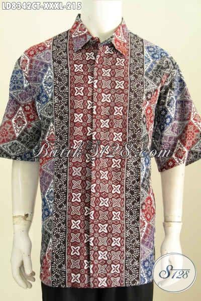 Pakaian Batik Cowok Terkini, Baju Batik Kerja Modern Pria Gemuk Size 4L Bahan Adem Motif Kombinasi Proses Cap Tulis Hanya 200 Ribuan [LD8342CT-XXXL]
