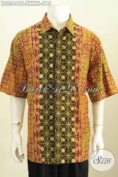 Kemeja Batik Lelaki Gemuk Sekali, Pakaian Batik Halus Motif Kombinasi Proses Cap Tulis, Size XXXXL