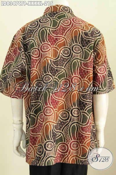 Baju Batik Modern Untuk Pria Ukuran 5L, Hem Batik Super Jumbo Motif Kombinasi Warna Berkelas Proses Cap Tulis Di Jual Online 215K [LD8347CT-XXXXL]