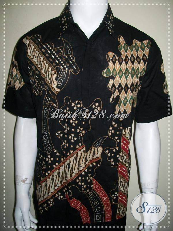 Baju Batik Pria Lengan Pendek Warna Hitam Elegan Untuk Kekantor