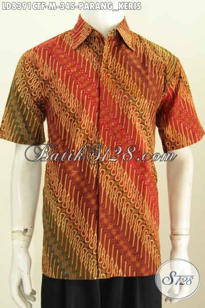 Aneka Model Baju Batik Pria Terkini, Hem Batik Modis Elegan Dan Mewah Motif Parang Keris Proses Cap Tulis Di Jual Online 345K [LD8391CTF-M]