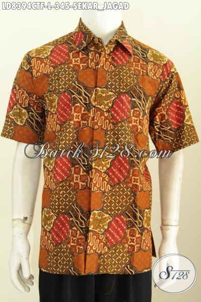 Busana Batik Lengan Pendek Premium Motif Sekarjagad, Baju Batik Istimewa Full Furing Bahan Adem, Pas Buat Kerja Dan Acara Formal, Size L