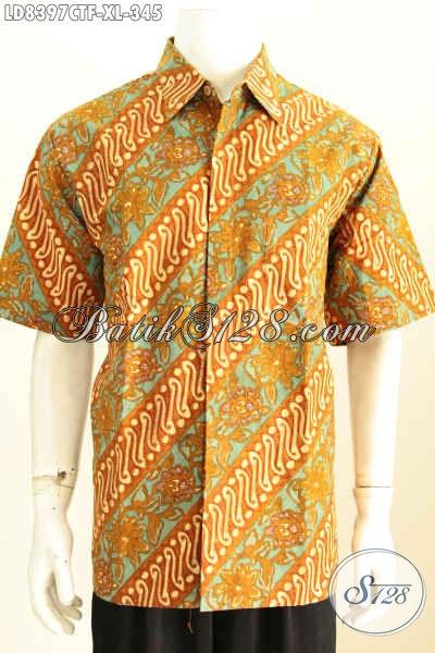 Kemeja Batik Lengan Pendek Elegan Dan Modis, Baju Batik Cowok Kerah Karir Aktif Lengan Pendek Full Furing Harga 345K [LD8397CTF-XL]