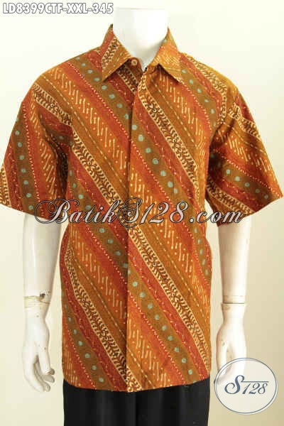 Sedia Kemeja Batik Elegan Lengan Pendek Full Furing, Baju Batik Pria Big Size Motif Klasik Proses Cap Tulis Harga 345K [LD8399CTF-XXL]
