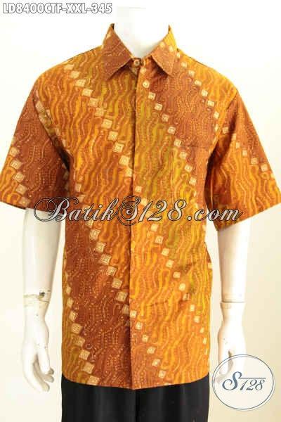 Baju Batik Pria Big Size Istimewa Harga Biasa, Kemeja Batik Solo Elegan Lengan Pendek Pake Furing Bahan Halus Proses Cap Tulis Tampil Lebih Menawan [LD8400CTF-XXL]