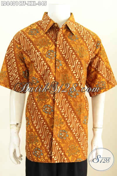 Pakaian Batik Spesial Untuk Pria Gemuk, Baju Batik Pria Jumbo 3L Bahan Halus Lengan Pendek Full Furing Untuk Penampilan Lebih Istimewa Proses Cap Tulis [LD8401CTF-XXL]