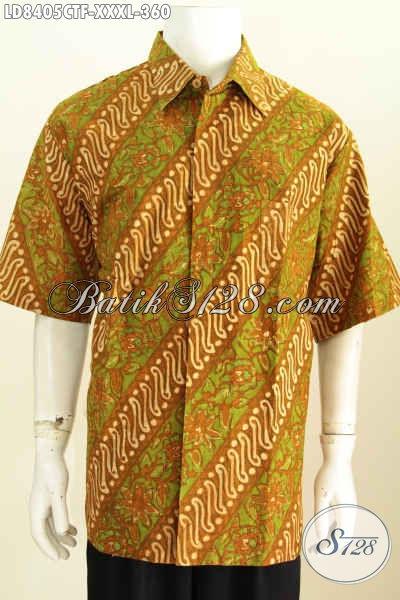 Baju Batik Pria Ukuran Big Size, Hem Batik Solo Halus Motif Klasik Bahan Adem Model Lengan Pendek Full Furing Spesial Untuk Pria Gemuk Sekali [LD8405CTF-XXXL]