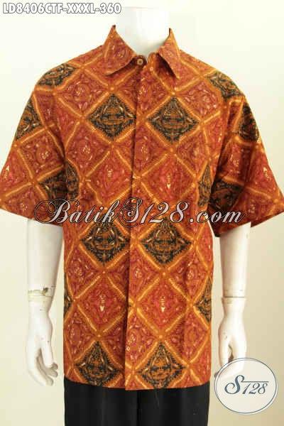 Hem Batik Pria Gemuk Motif Klasik, Baju Pria Ukuran Jumbo Buatan Solo Asli Proses Cap Tulis Lengan Pendek Full Furing [LD8406CTF-XXXL]