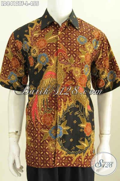 Baju Batik Pria Bukalapak, Hem Batik Solo Halus Trend Motif Terkini Proses Tulis Model Lengan Pendek Pake Furing [LD8412TF-L]