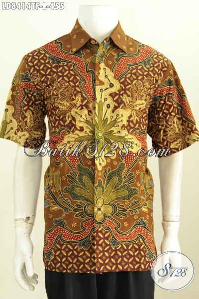 Jual Kemeja Batik Istimewa,, Hem Batik Lengan Pendek Halus Proses Tulis Motif Bagus Banget, Tampil Makin Berkelas, Size L