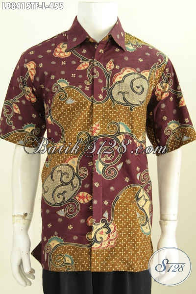 Baju Batik Pria Distro Kwalitas Mewah Asli Buatan Solo, Kemeja Batik Lengan Pendek Full Furing Motif Tulis Asli Hanya 400 Ribuan [LD8415TF-L]