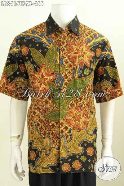 Batik Hem Solo Mewah Lengan Panjang, Pakaian Batik Jawa Tengah Full Furing, Cocok Buat Baju Kerja, Size XL