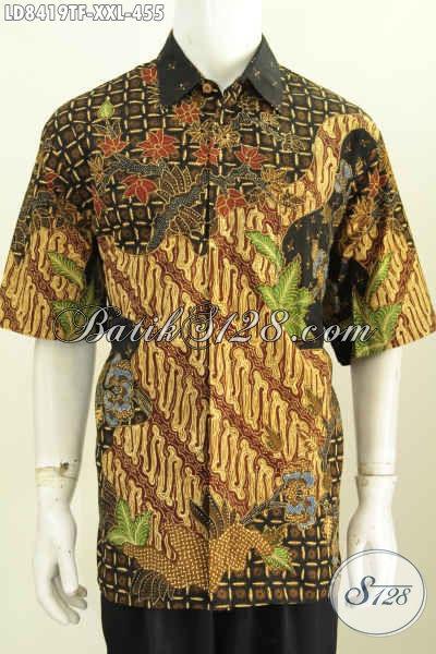 Hem Elegan Batik Solo Tulis, Kemeja Kerja Pria Gemuk Size XXL Model Lengan Pendek Full Furing 455K