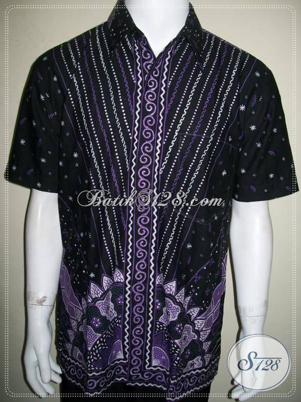 Jual Baju Batik Modern Pria Batik Tulis Warna Ungu Hitam