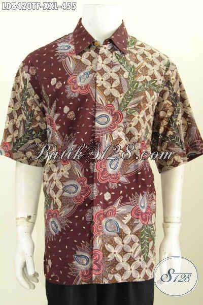 Baju Batik Pria Gemuk 3L, Baju Batik Cowok Big Size Harga Terjangkau Model Lengan Pendek Full Furing Hanya 455 Ribu [LD8420TF-XXL]