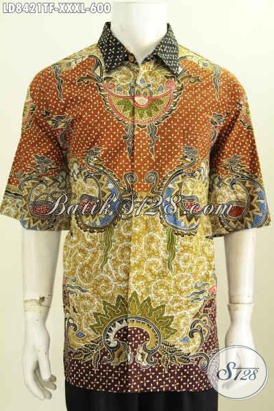 Baju Batik Mahal Untuk Cowok Gemuk Sekali, Hem Batik Pria Jumbo Lengan Pendek Full Furing Motif Mewah Tulis Asli Harga 600K [LD8421TF-XXXL]