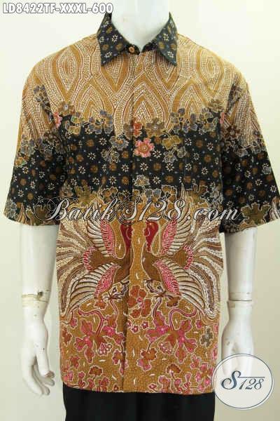 Hem Batik Solo Terbaru, Baju Batik Pria Ukuran 4L, Kemeja Batik Elegan Premium Full Furing Lengan Pendek Proses Tulis Harga 600 Ribu [LD8422TF-XXXL]