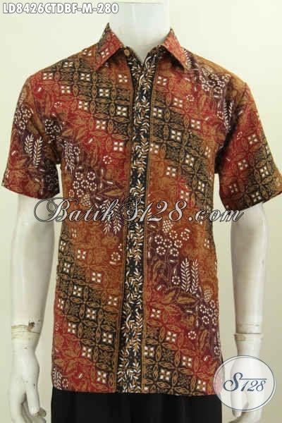 Hem Batik Ukuran M Lengan Pendek, Baju Batik Pria Formal Full Furing Bahan Kain Dolby Kwalitas Istimewa Harga 280K Motif Cap Tulis [LD8426CTDBF-M]