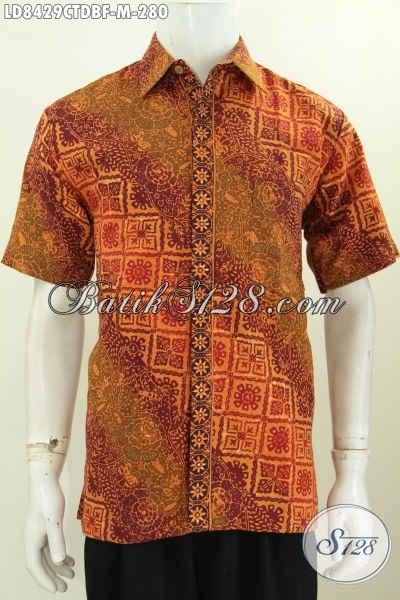 Pakaian Batik Lengan Pendek Bahan Kan Doby, Baju Batik Elegan Proses Cap Tulis Lengan Pendek Pake Furing Tampil Gagah Dan Tampan [LD8429CTDBF-M]
