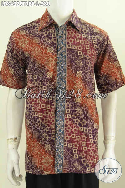 Baju Batik Modern Terbaru, Hem Batik Trendy Motif Bagus Proses Cap Tulis Bahan Kain Doby Lengan Pendek Full Furing, Tampil Lebih Percaya Diri [LD8432CTDBF-L]