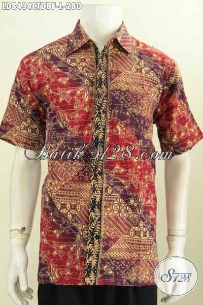 Sedia Baju Batik Pria Indonesia, Hem Batik Cap Tulis Halus Bahan Doby Desain Terbaru lengan Pendek Full Furing, Bisa Untuk Santai Dan Resmi [LD8434CTDBF-L]