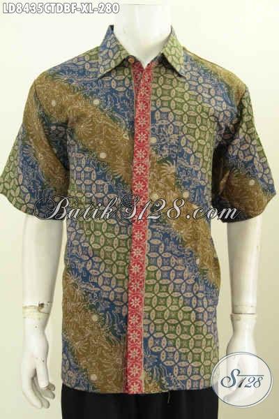 Baju Batik Pria Model Jankis, Hem Batik Lengan Pendek Keren Motif Elegan Proses Cap Tulis Berbahan Kain Doby Pake Furing Model Lengan Pendek Harga 280 Ribu Saja [LD8435CTDBF-XL]
