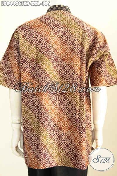 Baju Batik Pria Gemuk Bahan Katun Model Koko Kerah