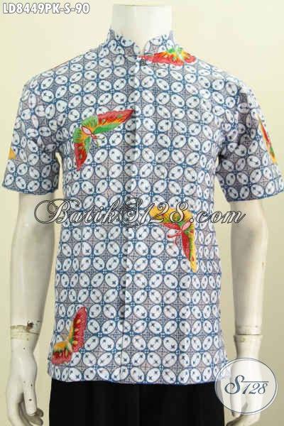 Baju Batik Pria Keren, Hem Batik Lengan Pendek Halus Motif Bagus Model Kerah Shanghai Di Jual Online 90K [LD8449PK-S]