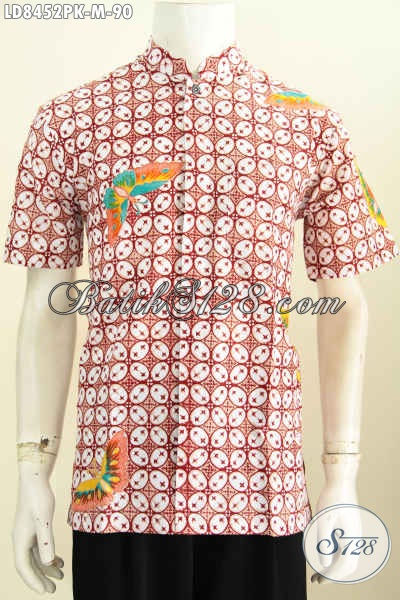 Jual Baju Batik Motif Kawung Model Koko, Batik Hem Lengan Pendek Halus Proses Printing Harga Murmer 90 Ribu Saja [LD8452PK-M]