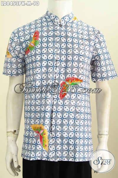 Baju Hem Batik Muslim Kekinianm, Kemeja Batik Halus Kerah Shanghai Lengan Pendek Harga Murmer, Size M