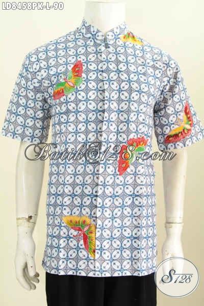 Baju Batik Pria Masa Kini, Hem Batik Koko Halus Lengan Pendek Motif Keren Proses Printing Di Jual 90K [LD8458PK-L]