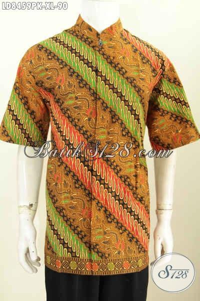 Baju Batik Pria Dewasa, Pakaian Batik Lengan Pendek ELegan Proses Printing Model Kerah Shanghai Cocok Untuk Seragam Kerja Kantoran [LD8459PK-XL]
