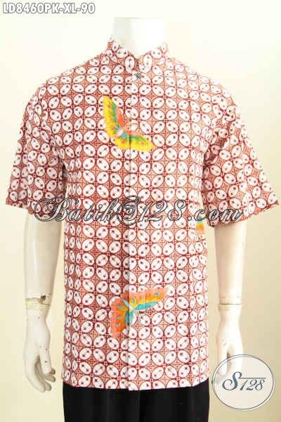 Busana Batik Solo Elegan, Pakaian Batik Modern Klasik Lengan Pendek Proses Printing Model Kerah Shanghai Asli Buatan Solo [LD8460PK-XL]