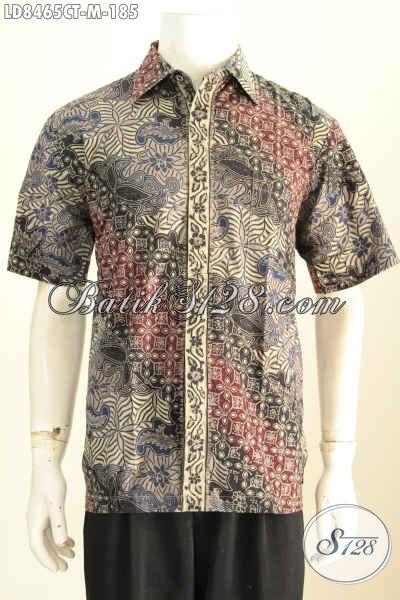 Baju Kemeja Pria Motif 2017, Hem Batik Lengan Pendek Elegan Proses Cap Tulis, Cocok Buat Santai Dan Resmi [LD8465CT-M]