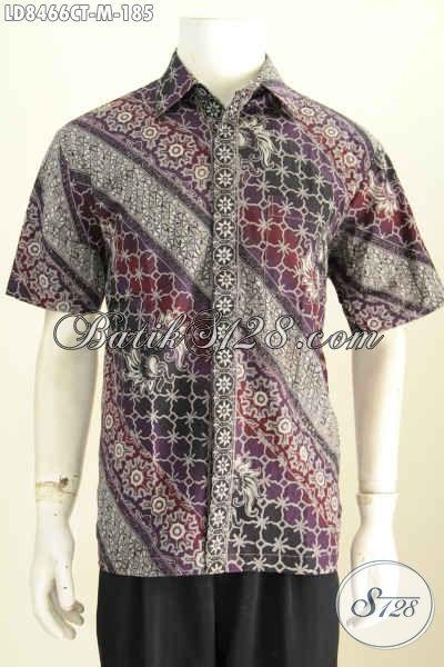 Belanja Baju Batik Pria Online, Sedia Kemeja Lengan Pendek Istimewa Harga 185K, Bahan Adem Motif Bagus Proses Cap Tulis [LD8466CT-M]