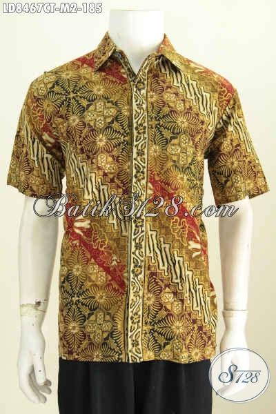 Beli Baju Batik Pria Online Kwalitas Istimewa Harga Biasa, Sedia Hem Batik Cowok Size M Motif Proses Cap Tulis Asli Buatan Solo [LD8467CT-M]