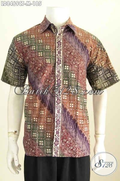 Cari Baju Batik Pria Desain Terbaru Online, Hem Batik Modis Lengan Pendek Bahan Adem Motif Bagus Cap Tulis, Cocok Untuk Kerja Dan Hangout [LD8469CT-M]