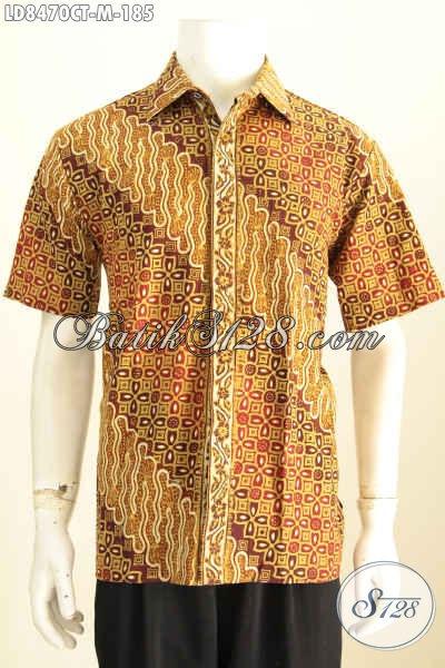 Contoh Baju Batik Pria Trendy Mode 2019, Hem Batik Lengan Pendek Motif Keren Bahan Adem Proses Cap Tulis, Tampil Lebih Ganteng Maksimal [LD8470CT-M]