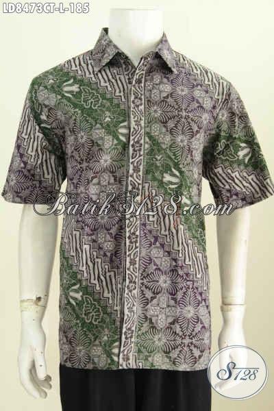Jual Hem Batik Online, Contoh Baju Batik Pria Terbaru, Busana Batik Lengan Pendek Motif Keren Proses Cap Tulis Hanya 100 Ribuan [LD8473CT-L]