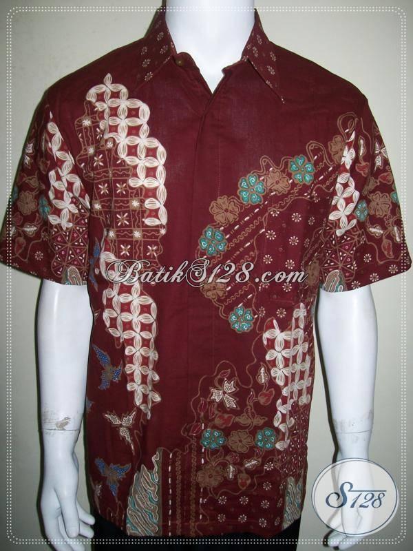 Jual Baju Batik Warna Merah Untuk Pergi Kerja Kantor dan Kondangan [LD847T-L]