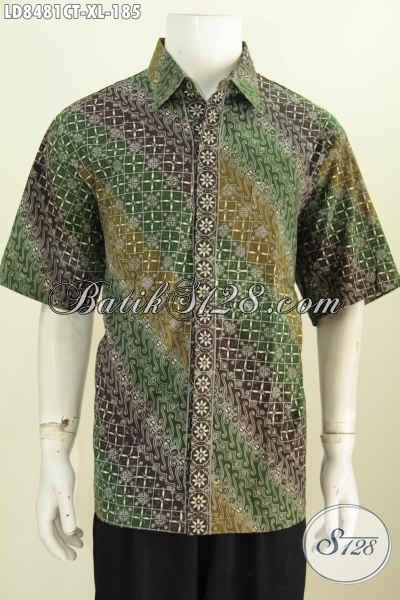 Desain Baju Batik Pria Kombinasi, Hem Batik Untuk Kerja Lengan Pendek Motif Terbaru 2017, Tampil Makin Trendy Dan Berkelas Proses Cap Tulis [LD8481CT-XL]