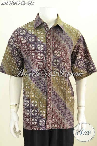 Baju Batik Pria Dewasa, Hem Batik Halus Motif ELegan Proses Cap Tulis Model Lengan Pendek Desain Keren Tampil Gagah Dan Tampan [LD8482CT-XL]