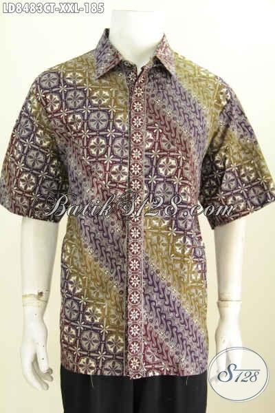 Jual Baju Batik Pria Gemuk, Desain Baju Batik Pria Modern Motif Cap Tulis Model Lengan Pendek Untuk Tampil Lebih Mempesona [LD8483CT-XXL]