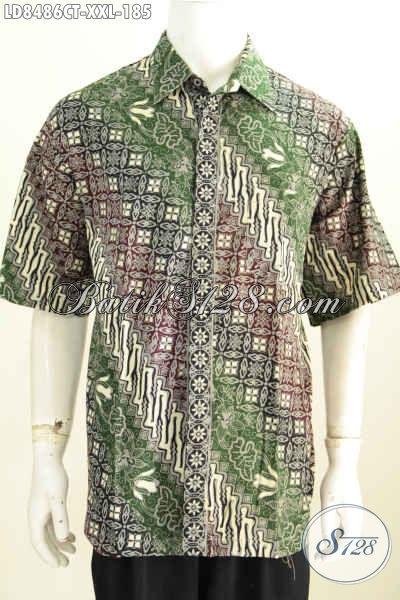 Fashion Show Baju Batik Pria Online, Produk Terbaru Baju Batik Pria Gemuk 3L Bahan Halus Motif Bagus Proses Cap Tulis Harga 185K [LD8586CT-XXL]