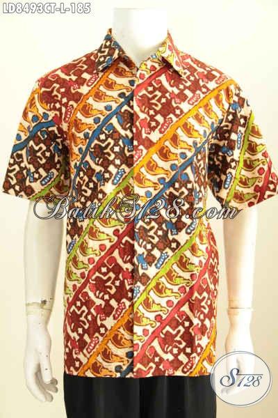Hem Batik Kwalitas Istimewa, Gambar Model Baju Batik Pria Modern Motif Bagus Proses Cap Tulis, Cocok Untuk Busana Kerja Dan Santai [LD8493CT-L]
