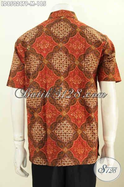 Batik Hem Modis, Busana Batik Solo Jawa Tengah Kwalitas Premium Model Lengan Pendek, Size M